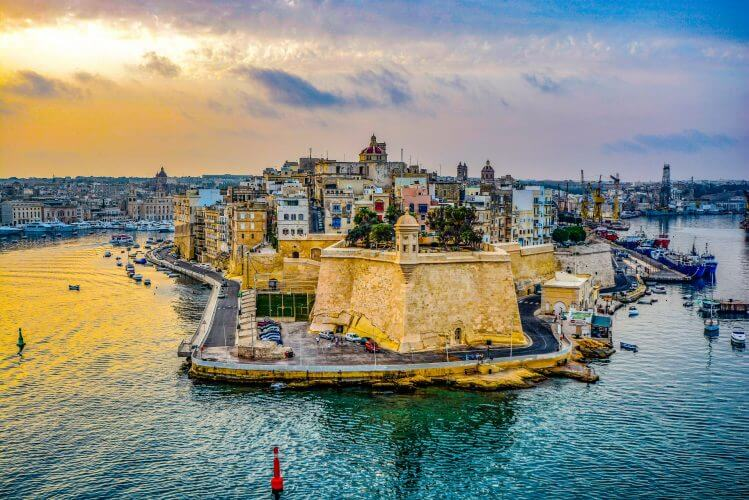 Malta Harbour is seen here during sunset
