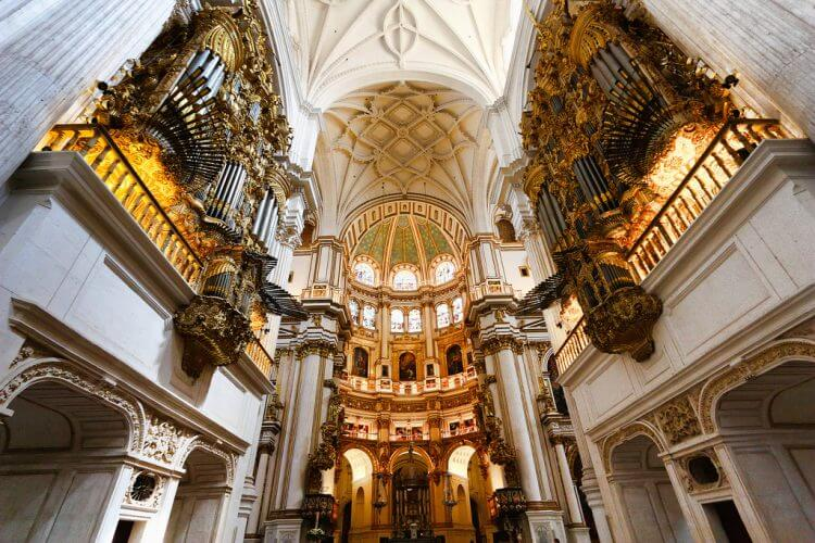 A view of the twin organs in the Granada Cathedral in Spain