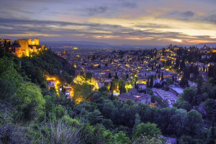 A view of the Granada city scape at sunset