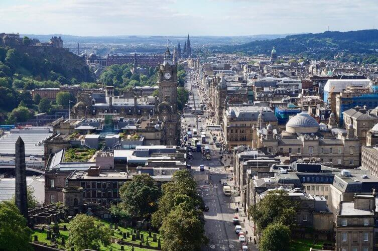 the city of Edinburgh from above