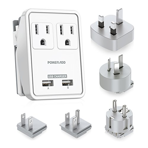 4. Poweradd 2-Outlet International Travel Adapter/ Charger
