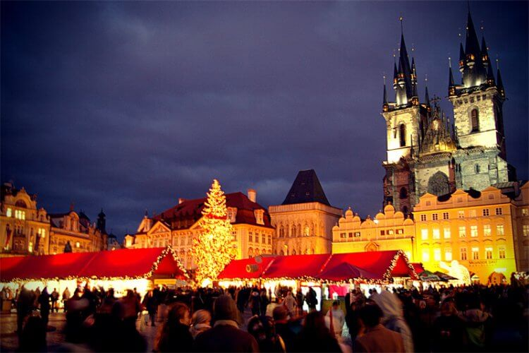 Christmas markets in prague are pictured here