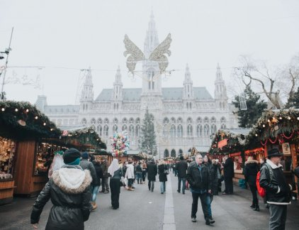 The christmas markets in Vienna are seen here