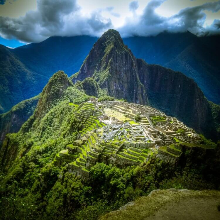 An aerial view of the Incan ruins in Machu Picchu