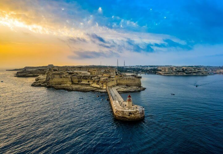 Sunrise over the Harbor in Valletta Malta