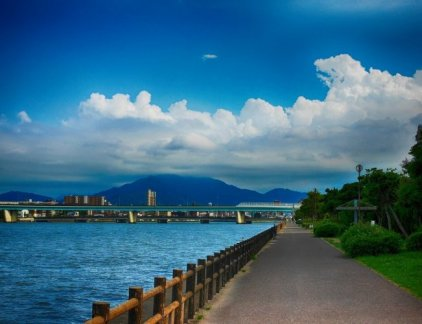 An image of the atagohama part of fukuoka