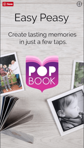 A screesnhot of the popbook app