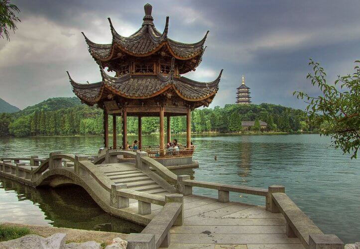 The architecture by the lake in hangzhou is on display here