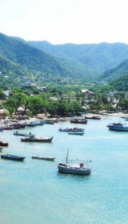 A shot of the coastline in Santa Marta