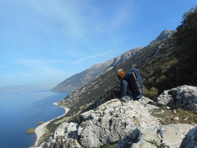 An image of a person hiking the Lycian Way near Antalya
