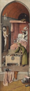 """Nightmares as the subject of visual art likely begin with cave paintings, but the first master is arguably Hieronymous Bosch. Here's """"Death and the Miser,"""" 1485 - 1490ish"""