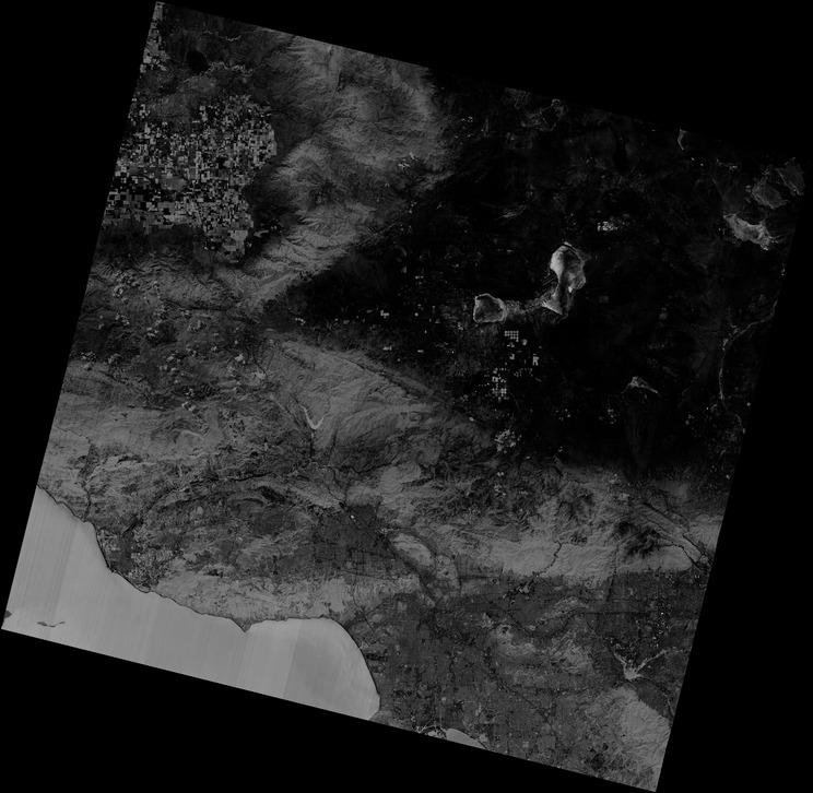Landsat 8 gambar pita biru Los Angeles