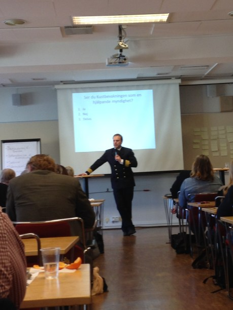 Pär-Åke Eriksson från Kustbevakningen berättade om vad som är deras främsta uppgift idag.