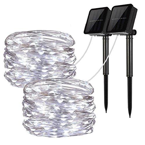 Solar String Lights, 2 Pack 100 LED Solar Fairy Lights 33
