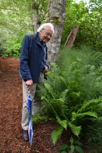 Rich Haag with a clump of Equisetum, one of his favorite plants. Photo: Daniel Jost.