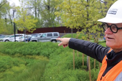 Ken Smith, FASLA, points out one of the wetlands he designed for the DEP section of the site. Credit: Alex Ulam.