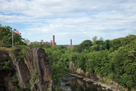 The Passaic River continues toward the Valley of the Rocks and the mill ruins.