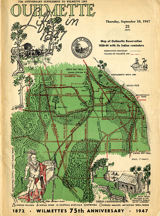 A 1947 map depicting life in Wilmette, Illinois, in 1847 includes the location of trail marker trees. Image courtesy of the Willmette Historical Museum.