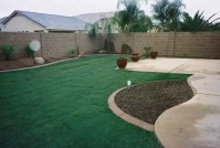 Arizona Tropical landscape design with sod, palm trees ...