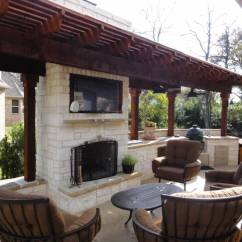 Outdoor Kitchen With Fireplace Unpainted Cabinets Landscape By Design Contractor In North Texas
