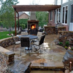 Outdoor Kitchen With Fireplace Polished Brass Faucet Flagstone Patio Stone And