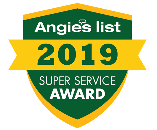 Angies List 2019 Super Service Award in yellow and green