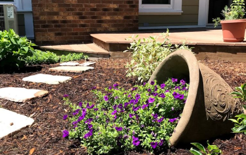 purple petunia in flower pot brown mulch and light grey stone leading to patio