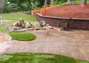 Natural stone fire pit in West Hartford
