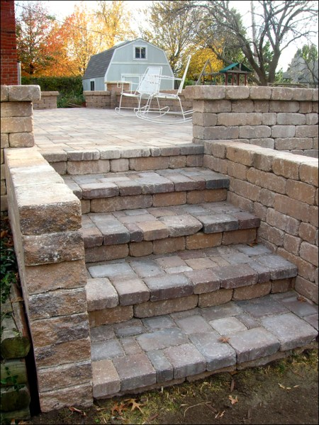 paver patio steps designs Outdoor Living & Hardscape | ValleyScapes