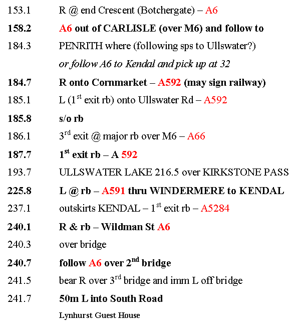 Image 2 - Day Three Route Sheet for Lands End to John O'Groats Guide Appendix 1