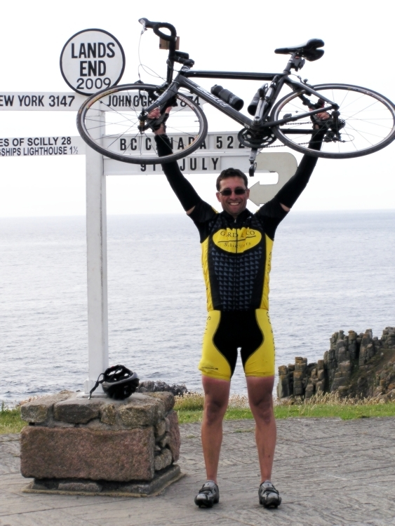 Image of At LE Sign Post for Day Six for Lands End to John O'Groats - My End to End