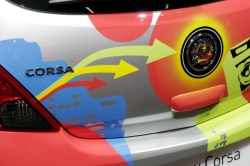 Graphic details on the car