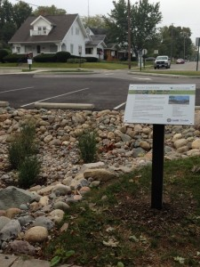 Rain Garden at Defiance Public Library parking lot