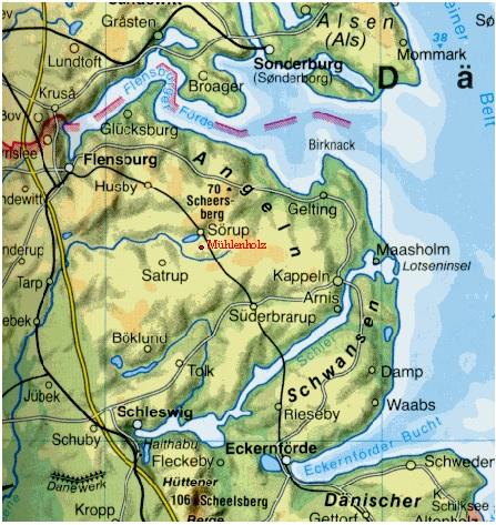 Lage Ferienhof Fischer in Schleswig-Holstein