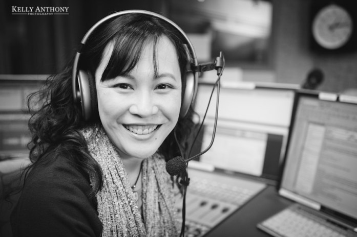 Adelaine Ng in a studio at Radio Australia