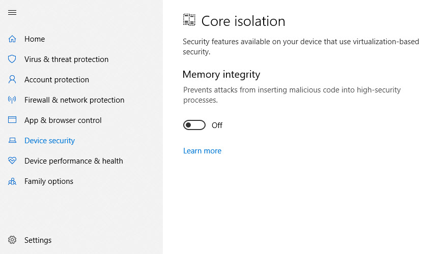 "Win10's new ""Memory integrity"" feature breaks VirtualBox"