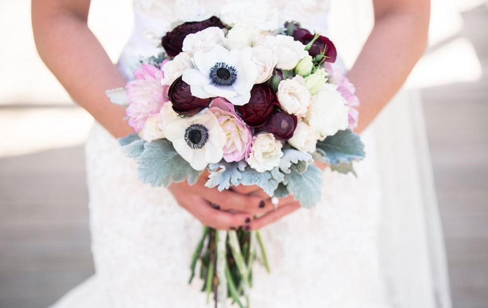 Romantic bouquet with burgundy ranunculus and blush dahlias by Lang Floral Designs | Chattanooga Wedding Florist