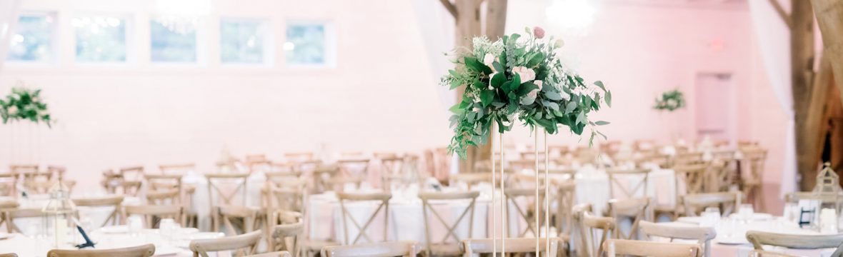 Blush Wedding With Greenery, Tall Centerpiece, Lang Floral Designs, Chattanooga Wedding Florist