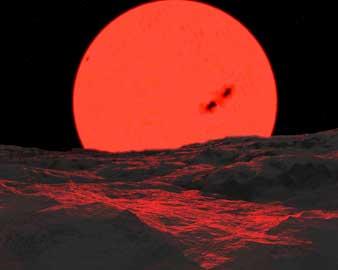 Terbitnya bintang raksasa merah. Impresi artis. Sumber: Jeff Bryant's Space Art.