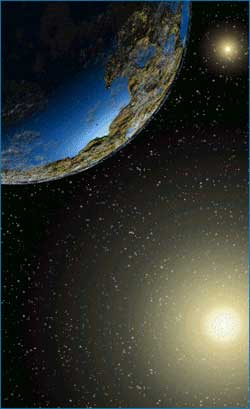 Planet kebumian di Alpha Centauri. Ilustrasi artis oleh : Mark Fischer