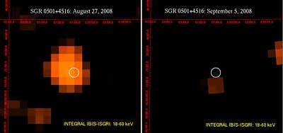 Sinar-X berenerdi tinggi dari SGR 0501+4516 yang diamati Integral.  Kredit: ESA/INTEGRAL/IBIS-SIGRI (Rea et al. 2009)