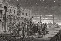Suasana saat Galileo pertama kali mengarahkan teleskopnya. Kredit : IYA2009