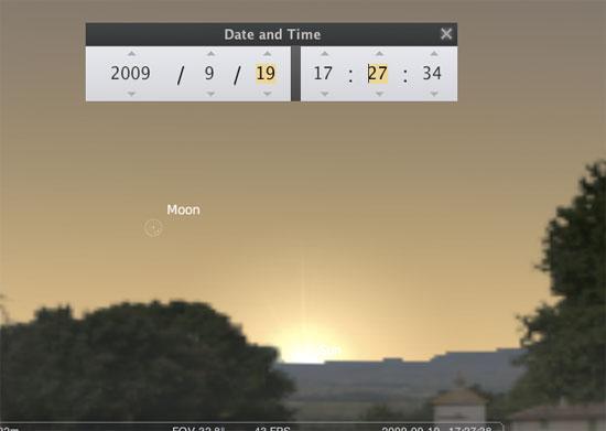 Posisi Bulan setelah ijtimak pada tanggal 19 September 2009. Sumber : Stellarium
