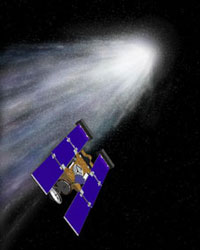 Ilustrasi Stardust saat akan melewati komet. Kredit : NASA/JPL
