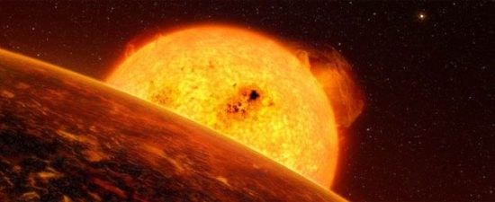 Exoplanet CoRoT-7b dan saudaranya CoRoT-7c yang tampak di kejauhan. Kredit: ESO