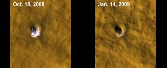 Citra kawah baru di Mars yang diambil dalam selang waktu berbeda. Kredit: NASA/JPL-Caltech/University of Arizona