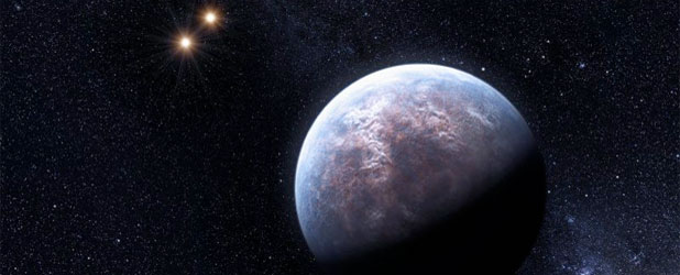 Gliese 667, gambar artis. kredit : ESO/L. Calçada