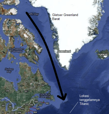 Kawasan Atlantik Utara dalam proyeksi Mercator. Gunung-gunung es dari gletser Greenland Barat dihanyutkan arus Labrador (panah hitam) menuju perairan Atlantik utara. Sumber : Sudibyo, 2012 dengan peta dari Google Maps.