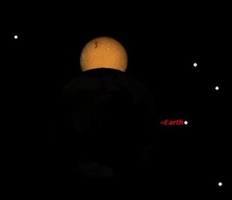 Puncak Gerhana Matahari Sebagian dilihat dari asteroid 2012 KT42, berdasarkan Starry Night. Sumber : Sudibyo, 2012.