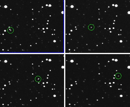Sekuens citra penemuan asteroid 2012 KT42 (dalam lingkaran) lewat Observatorium Mt. Lemmon, Arizona (AS). Sumber : Catalina Sky Survey, 2012.